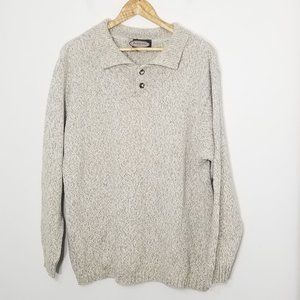 Vintage   Beige Long Sleeve Knit Collared Sweater